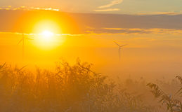 Turbina de viento en un campo en la salida del sol Imagenes de archivo