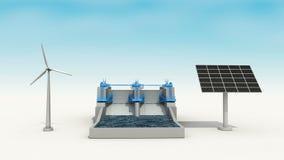 Turbina de viento, generador solar del penel, presa del poder de agua, energía verde 2 libre illustration