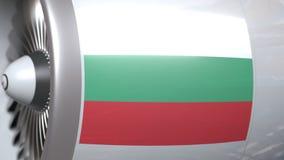 Turbina del aeroplano con la bandera de Bulgaria Animación conceptual 3D del transporte búlgaro almacen de video