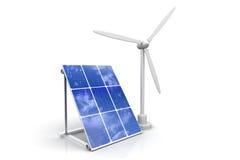Turbina di vento e comitato solare Immagini Stock Libere da Diritti