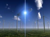Turbina di vento e del UFO Fotografia Stock Libera da Diritti