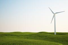 Turbina di vento sul campo di erba verde illustrazione vettoriale