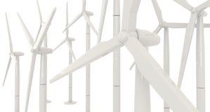 turbina eólica 3D para a energia limpa no fundo branco no ANG do lado Foto de Stock Royalty Free