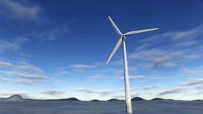 turbina eólica da rendição 3D no mar Imagem de Stock Royalty Free