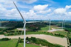 Turbina eólica da vista aérea Imagem de Stock Royalty Free