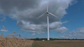 Turbina eólica de giro no dia ensolarado vídeos de arquivo