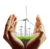 Turbina eólica na mão Imagem de Stock Royalty Free
