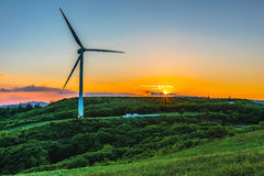 Turbina eólica no monte na névoa da manhã foto de stock royalty free