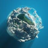Turbina eólica no planeta verde ilustração royalty free