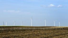 Turbina eólica 2, nos campos em Alibunar, Banat, Sérvia Fotografia de Stock Royalty Free