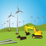 Turbina eólica, por do sol bonito acima dos moinhos de vento no campo Fotos de Stock Royalty Free
