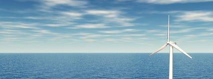 Turbina eólica a pouca distância do mar Imagens de Stock Royalty Free