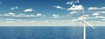 Turbina eólica a pouca distância do mar Foto de Stock