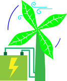 Turbina verde do vento imagens de stock royalty free