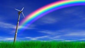 Turbina y arco iris de la energía eólica stock de ilustración
