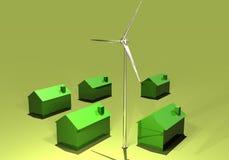 Turbina y eco-hogares de viento Imágenes de archivo libres de regalías