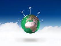 Turbinas da terra e de vento do planeta Imagens de Stock Royalty Free