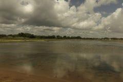 Turbinas de Aeolic en la playa de Guamare Foto de archivo libre de regalías