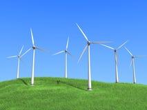 Turbinas de vento brancas Fotografia de Stock