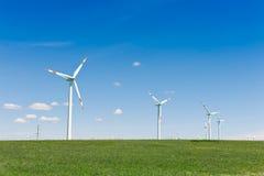 Turbinas de vento, campo amarelo Foto de Stock