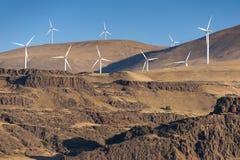 Turbinas de vento, campo amarelo Imagem de Stock Royalty Free