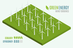 Turbinas de vento, campo amarelo Web 3d lisa isométrica Energia alternativa moderna do verde de Eco Fotografia de Stock