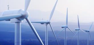 Turbinas de vento com montanhas distantes ilustração royalty free