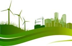 Turbinas de vento e ilustração da cidade Imagens de Stock Royalty Free