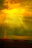 Turbinas de vento e pólo de telégrafo Imagem de Stock Royalty Free