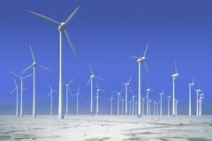 Turbinas de vento na água congelada Fotografia de Stock