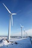 Turbinas de vento no inverno Fotos de Stock