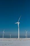 Turbinas de vento no inverno Fotos de Stock Royalty Free
