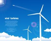 Turbinas de vento sobre o céu azul Imagem de Stock Royalty Free