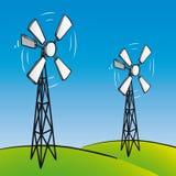 Turbinas de vento velhas (vetor) Foto de Stock Royalty Free