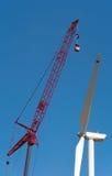 Turbinas de viento bajo construcción Fotografía de archivo