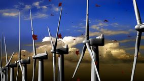 Turbinas de viento, campo amarillo libre illustration