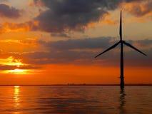 Turbinas de viento, campo amarillo Imágenes de archivo libres de regalías
