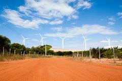 Turbinas de viento, campo amarillo Fotos de archivo libres de regalías