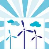 Turbinas de viento con las nubes - viento y concepto de la energía imagen de archivo