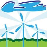 Turbinas de viento con las nubes - viento y concepto de la energía fotos de archivo