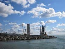 Turbinas de viento costero Foto de archivo libre de regalías