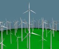 Turbinas de viento de la pluralidad representación 3d Fotografía de archivo libre de regalías