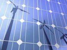 Turbinas de viento de las células solares Fotografía de archivo