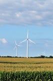 Turbinas de viento en campo de maíz Foto de archivo