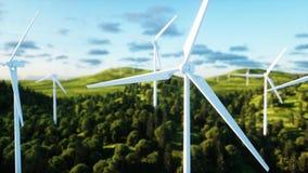Turbinas de viento en campo verde paisaje del monderfull Concepto ecológico representación 3d Imagen de archivo libre de regalías