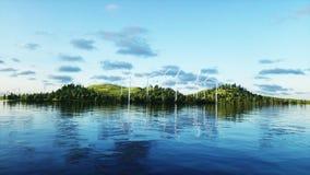 Turbinas de viento en campo verde paisaje del monderfull Concepto ecológico representación 3d Fotos de archivo libres de regalías