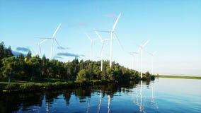 Turbinas de viento en campo verde paisaje del monderfull Concepto ecológico representación 3d Fotografía de archivo