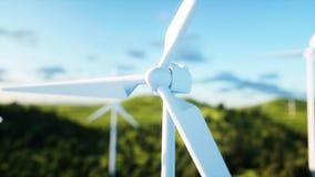 Turbinas de viento en campo verde paisaje del monderfull Concepto ecológico representación 3d Imagenes de archivo