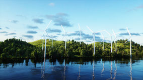 Turbinas de viento en campo verde paisaje del monderfull Concepto ecológico representación 3d Fotos de archivo