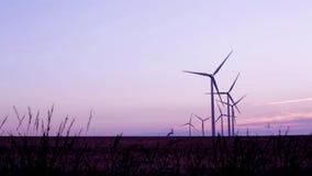 Turbinas de viento en el campo bajo puesta del sol hermosa almacen de video